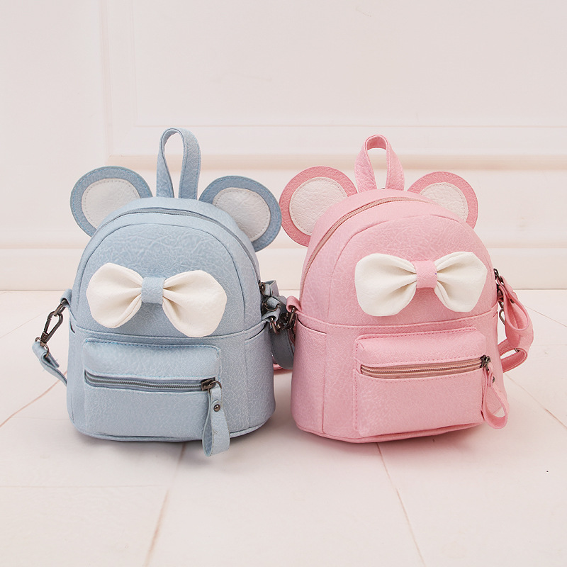 Mouse backpack 2017 new Female bag Quality pu leather Women Backpack Mickey ears Sweet girl bow College Wind Travel Rucksack stacy bag hot sale new arrival high quality women pu leather backpack sweet girl small vintage backpack pink beige black blue