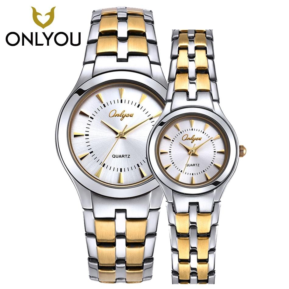 ONLYOU Men Watch Top Brand Luxury Stainless Steel Waterproof Quartz Wristwatch Lovers Watch Dress Clock For charme Male/Female