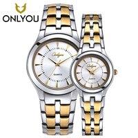 Onlyou Для мужчин часы лучший бренд роскошных Нержавеющаясталь Водонепроницаемый кварцевые наручные часы любителей смотреть платье часы дл...