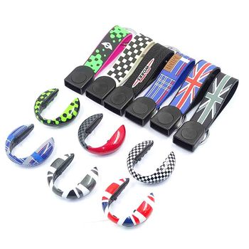 Union Jack Car Key Bag Key Chains Case Housing Cover Protection Accessories For Mini Cooper One JCW S F54 F55 F56 F60 Countryman 9 options super inner accessories for mini cooper f54 f55 f56 f60 union jack carbon fiber interior steering wheel center cover