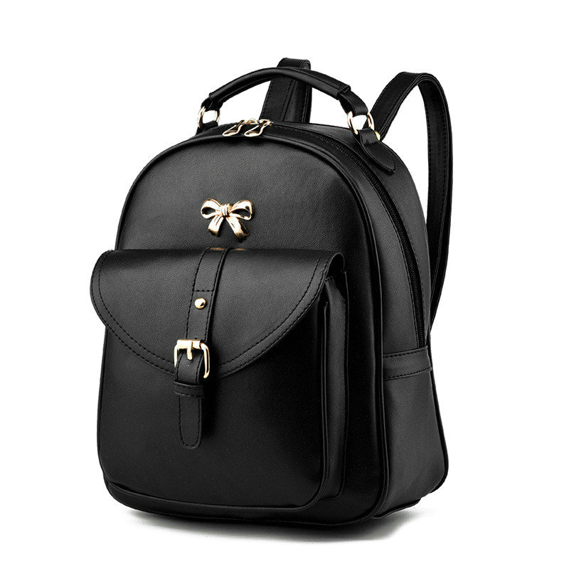 2016 New Arrival PU Leather Solid Women Backpack Korean Style Double Zipper Bow Decoration Teenage Girls