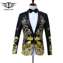 Plyesxale Mens Black Gold Blazer Chinese Style Floral Fish Embroidery Blazer Men Shawl Collar Male Stage Wear Prom Blazers Q108