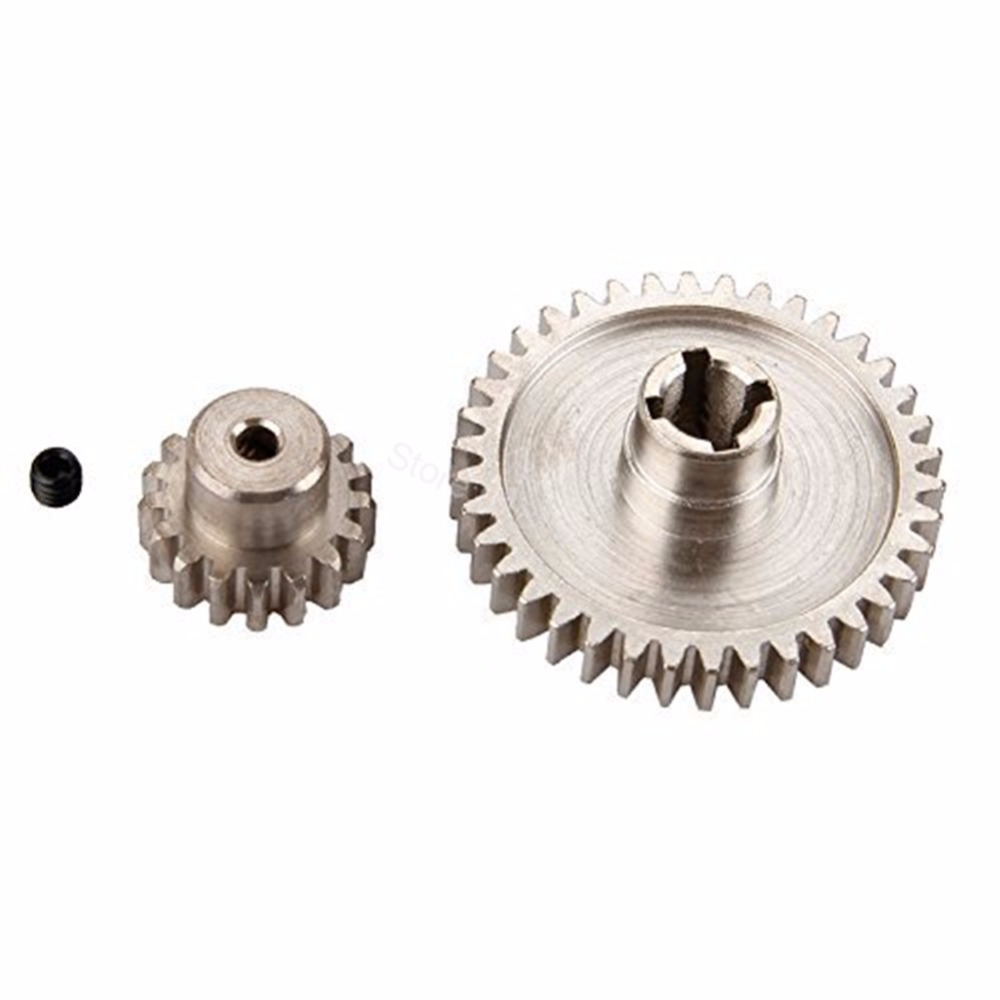 2pcs Metal WLtoys A959 Steel Diff Main Gear 38T & Motor Pinion 17T For 1/18 Electric Buggy Vortex