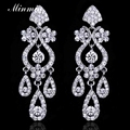 Minmin Clear Crystal Silver/Gold Color Dangle Earrings Bridal Long Drop Earrings for Women Wedding Accessories EH001