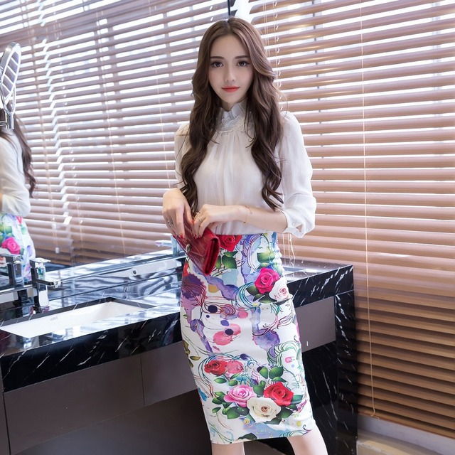 17f60f8f6fc9 TingYiLi Office Midi Pencil Skirt Summer Flower Print High Waist Tight  Skirt S-3XL Plus Size Knee Length Women Skirt
