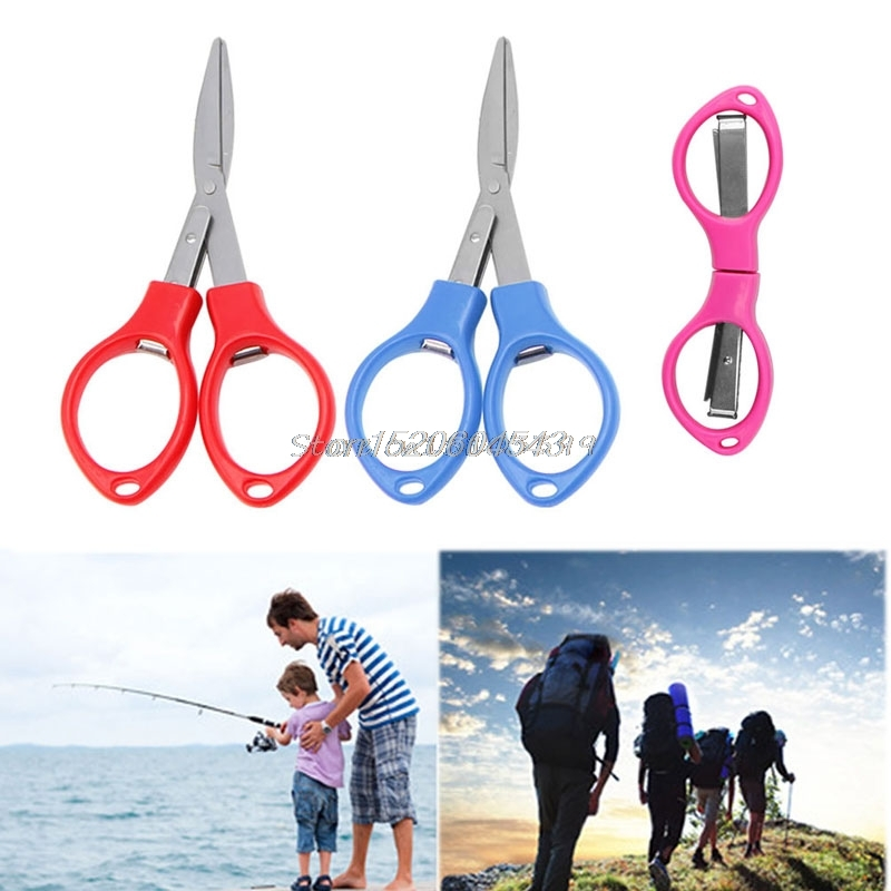 Stainless Steel Folding Camping Scissors Keychain Fishing Scissor Mini Cutter Tool R06 Drop Ship fishing line scissor cutter purple