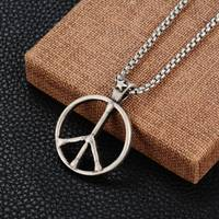 Hiphop Goofan Sign Of Peace Pendant Superior Quality Necklace Stainless Steel Fashion Jewelry For Men Women