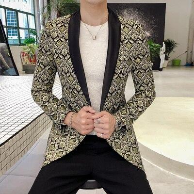 Costume à paillettes Blazer 5XL robe de grande taille manteaux Blazer modèle veste châle étiquette smoking hommes Blazers Slim Fit scène DJ Blaser 2019