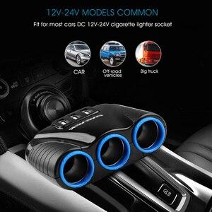Image 5 - 3 יציאת USB 3 דרך 3.1A הכחול הוביל סיגריה רכב קלה Socket ספליטר Hub מתאם מתח 12 V 24 V עבור iPad Smartphone GPS DVR