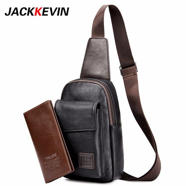 c7c96abac3f Men s Fashion Retro PU Foot Leisure Travel Bag Shoulder Messenger Bag  Waterproof Wear Chest Harness Chest Pocket