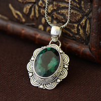 Genuine Sterling Silver 925 Pendant For Women With Emerald Natural Stones Antique Retro Lucky Pendant Colgantes Mujer