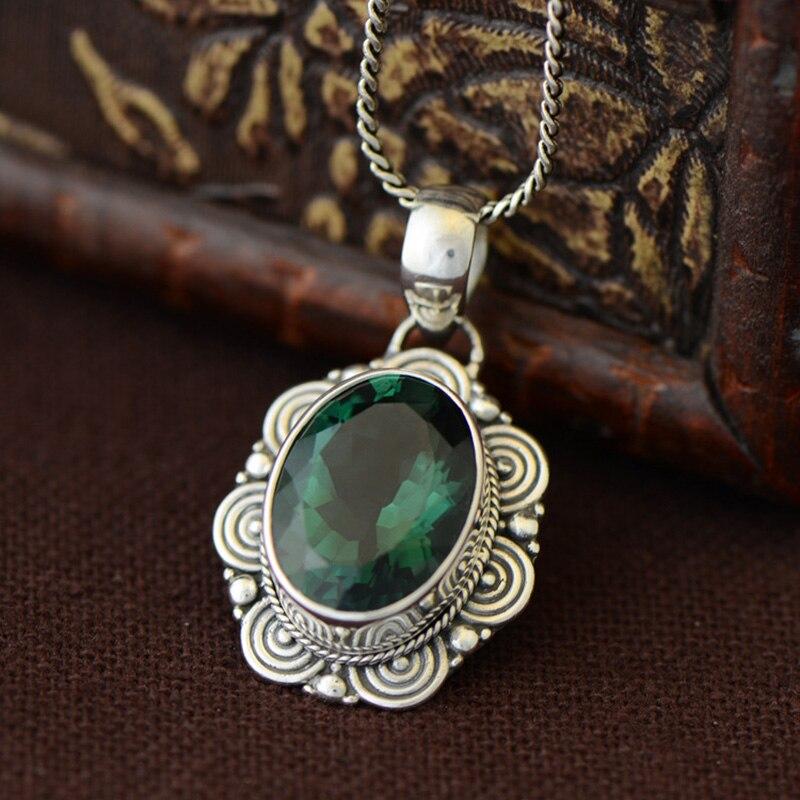 Pendentif en argent Sterling véritable 925 pour femmes avec pierres naturelles émeraude Antique pendentif rétro chanceux Colgantes Mujer