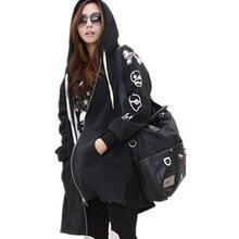 new European American style fashion women fall winter loose plus size long skull hooded zip sweatshirt hoodies