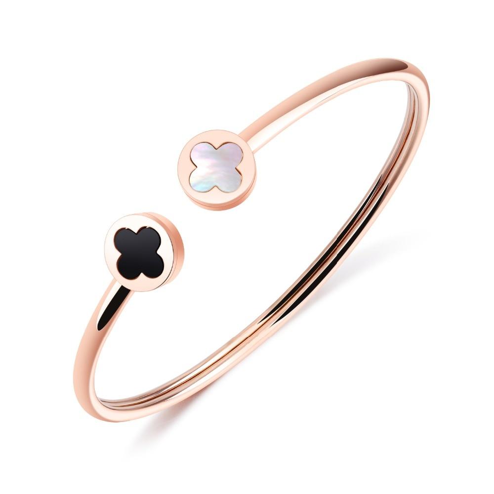 Клевер открытым манжеты браслеты для Для женщин простой браслет Титан Сталь покрытие из розового золота BraceletJewelry вечерние свадебные подарк...