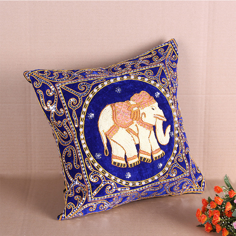 Pillow Cover Elephant Handmade Embroided Home Decoration Black Sequin and Bead