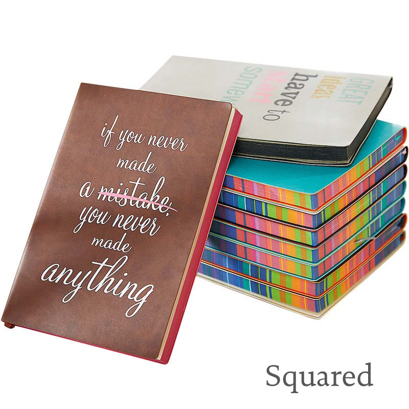 Soft Cover Squared Notebook Creative Simple Rainbow Edge Diary Journal
