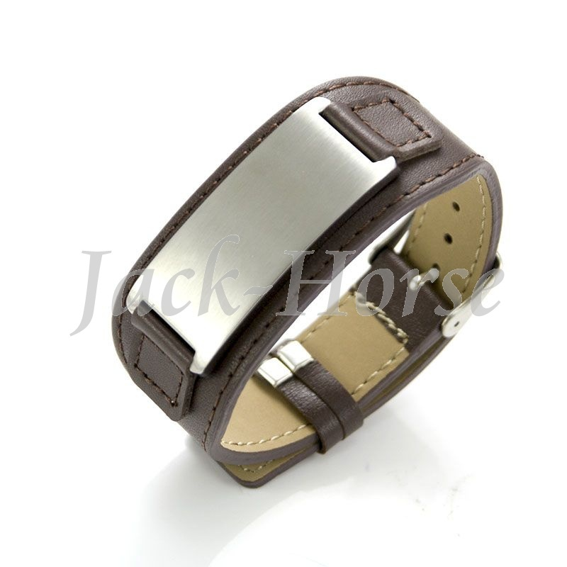 Genuine Leather bracelet Stainless steel mens leather cuff bracelet
