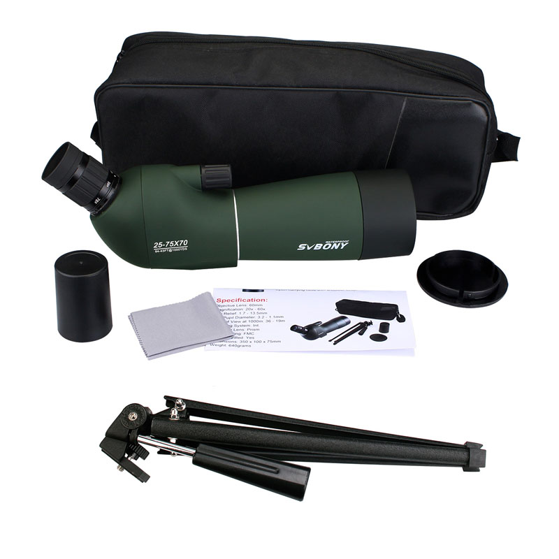 SVBONY SV28 50/60/70mm 3 Types Spotting Scope Waterproof Zoom Telescope +Tripod Soft Case for Birdwatching Target Archery F9308Z-5