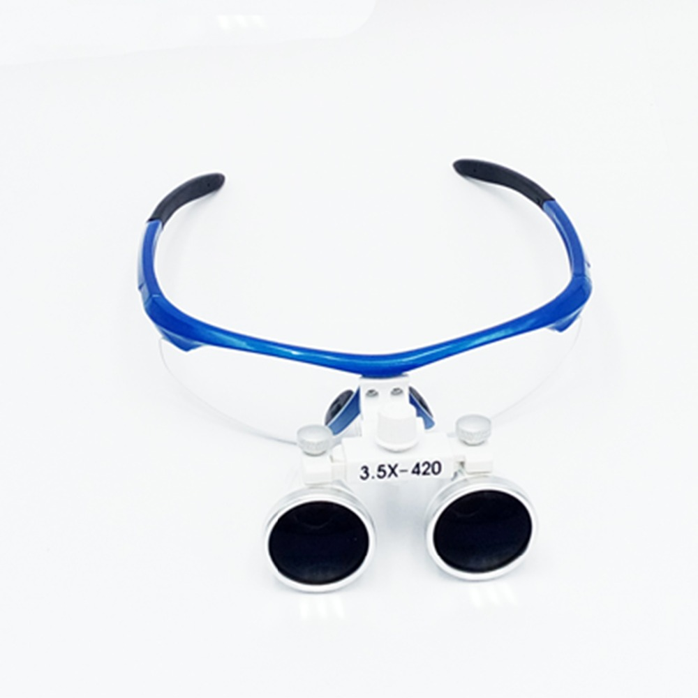 2016 New Fashion Blue 3.5X 420mm magnifiying surgical loupe adjustable size Galileo optical glasses dental dentist magnifier jakob buhrer galileo galilei