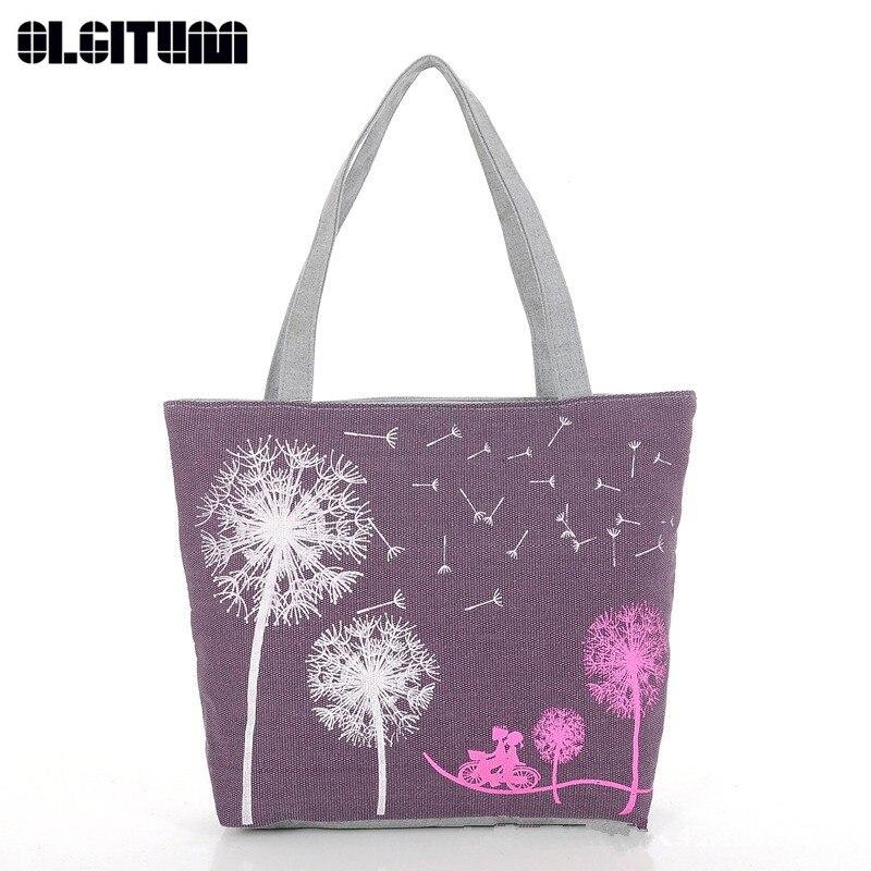 OLGITUM 2018 Canvas Women Casual Tote Lady Large Bag Fashion Dandelion Handbags Shopping Bag New Women's Shoulder Bags HB009