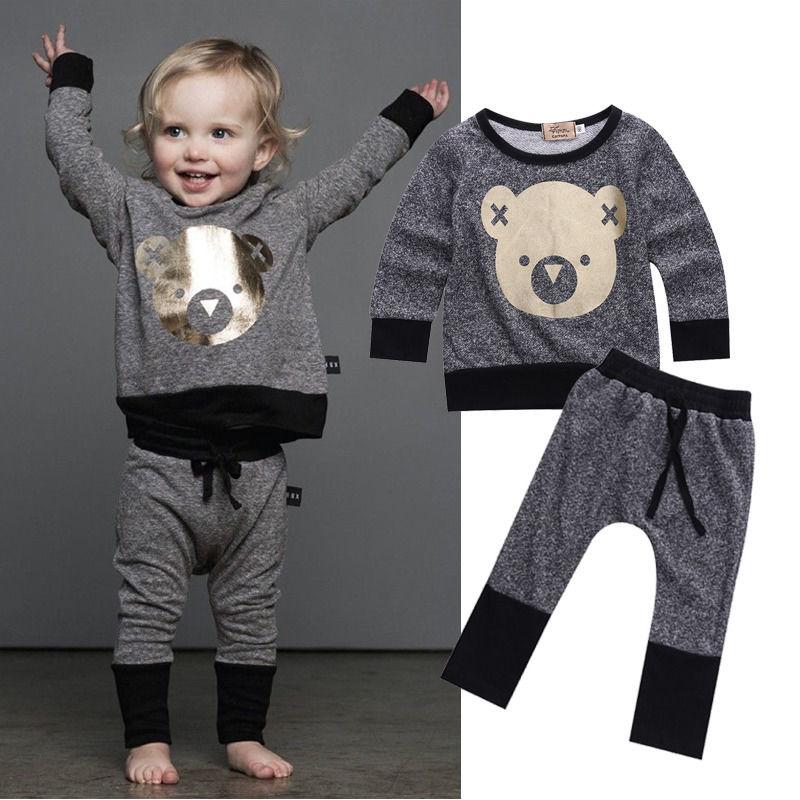 Retail girls boys clothing sets top pants 2 pcs set autumn winter kids clothes fashion girls Mla winter style fashion set
