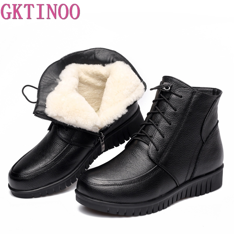 GKTINOO Winter Women Shoes Woman Genuine Leather Flat Ankle Boots Female Lace up Warm Wool Snow