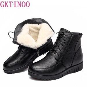 Image 1 - GKTINOO الشتاء النساء أحذية امرأة جلد طبيعي شقة حذاء من الجلد الإناث الدانتيل متابعة الدافئة الصوف الثلوج أحذية النساء الأحذية