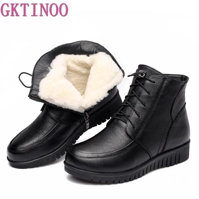 Gktinoo冬の女性の靴女性の本革フラットアンクルブーツ女性レースアップウォームウール雪のブーツの女性
