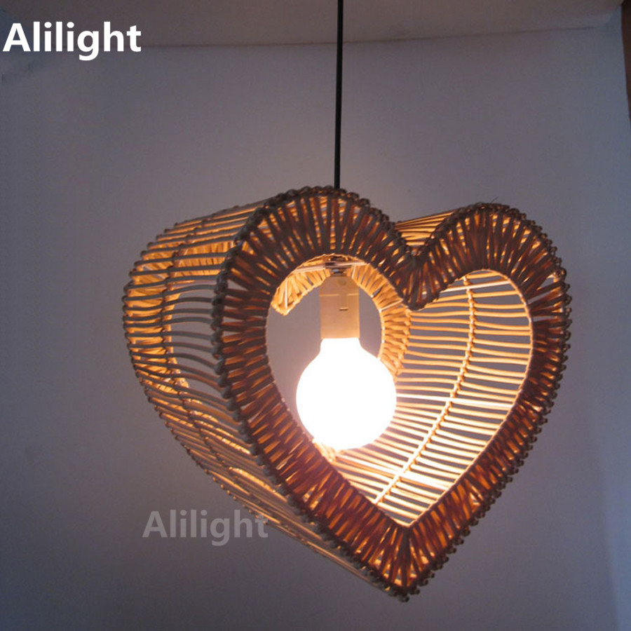 Modern Hand Woven Rattan Love Pendant Lights Indoor