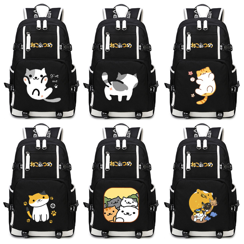 Neko Atsume Backpack Anime The cat backyard Cosplay Nylon School Bag Travel BagsNeko Atsume Backpack Anime The cat backyard Cosplay Nylon School Bag Travel Bags