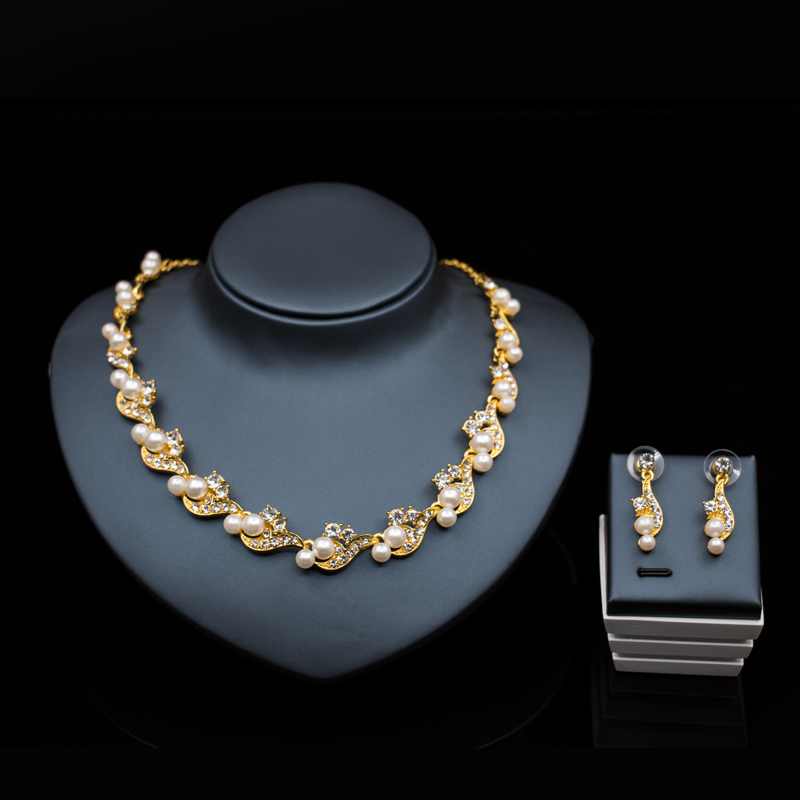 Wedding font b accessories b font bride jewelry set dubai jewelry gold color simulated pearl necklace