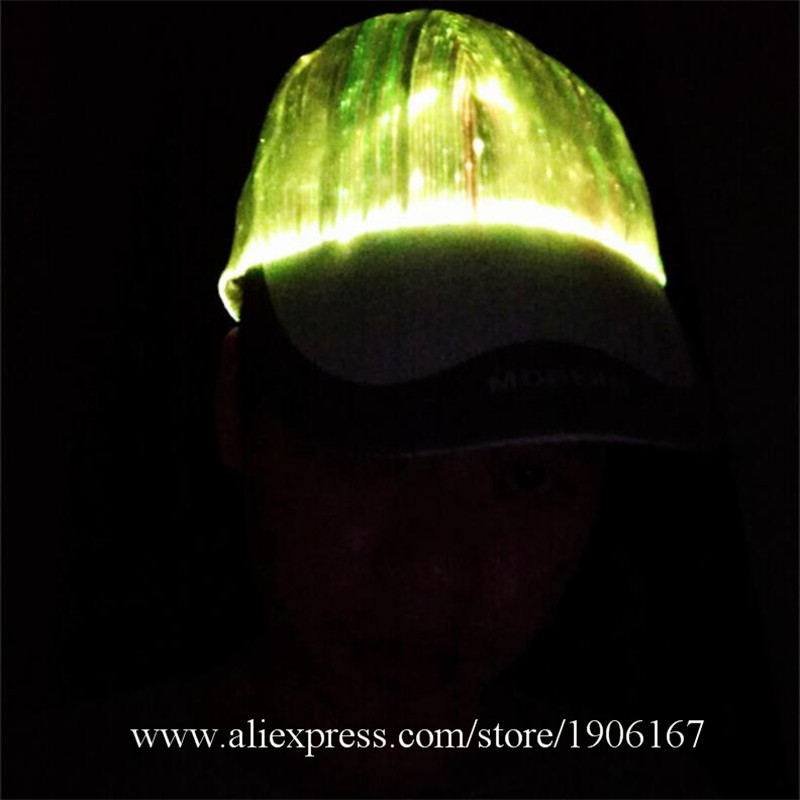 New led fiber 7 color light hat Bar music festival Judi night light hat Fashion light hat05