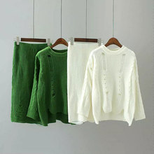 Women 2 Piece Set Suit Autumn Ripped Hole Sweater Pullover + High Waist Knitted Pencil Midi Skirt Female Knitting Clothing Set