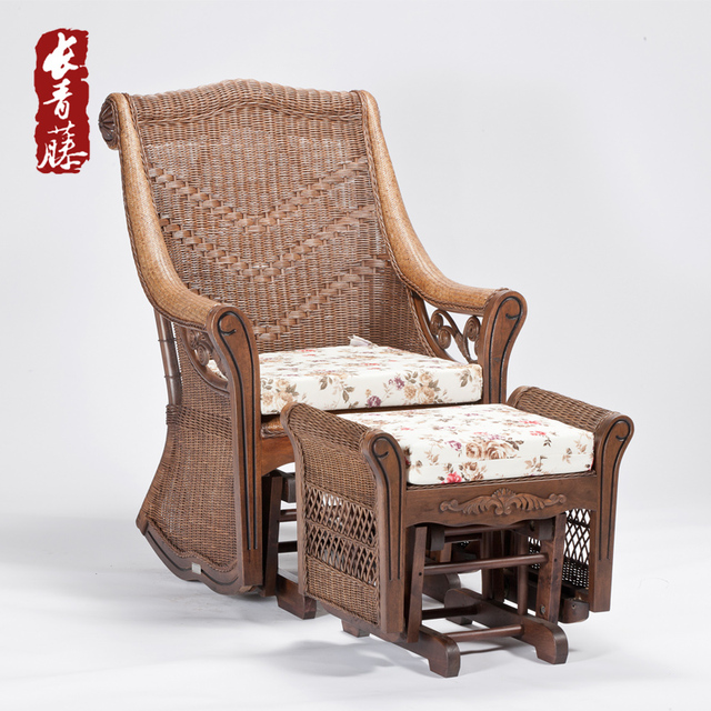 Rattan wood rattan rocking chair recliner Happy elderly balcony ...