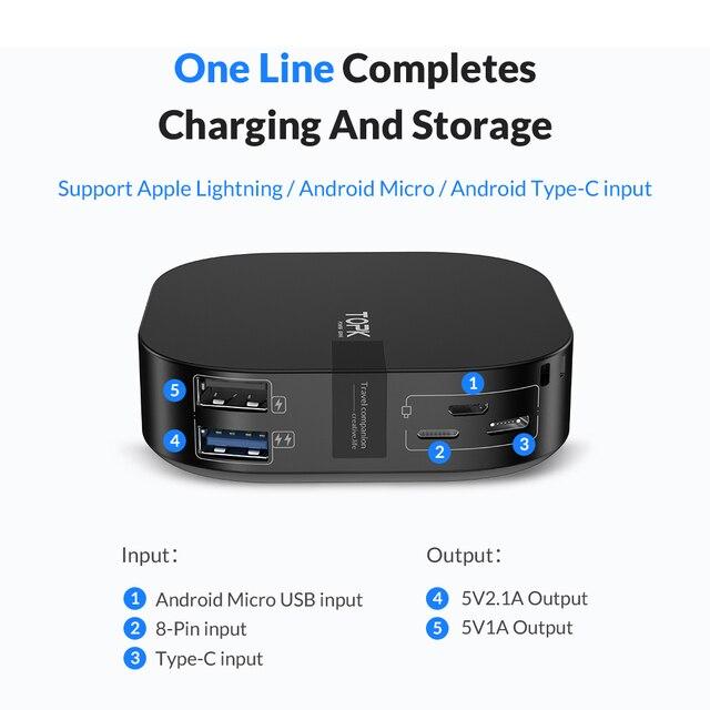 TOPK Mini Power Bank 10000mah Portable Charger Powerbank USB Type C External Battery Charger Poverbank for iPhone Xiaomi Huawei 5