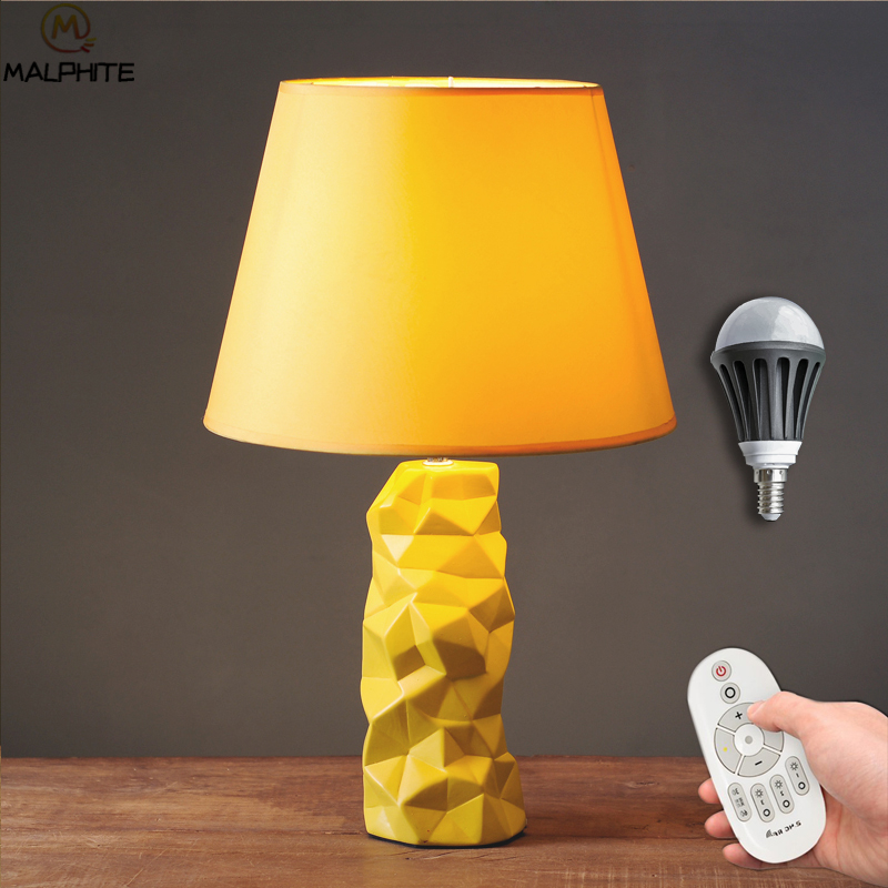 Modern Yellow Desk Lamps Ceramic Table Lamp Pineapple Led Table Lamps for Living Room Table Light Home Deco Lighting Luminaria in LED Table Lamps from Lights Lighting