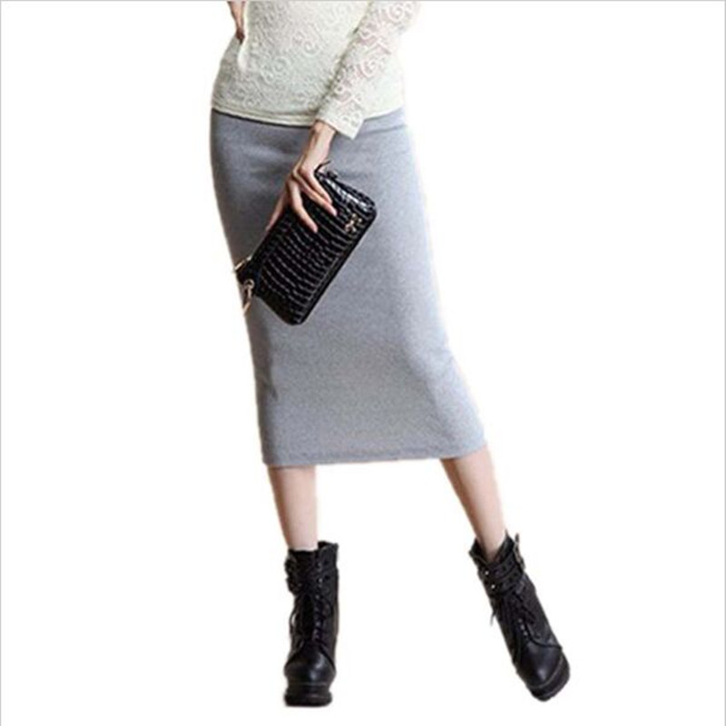 2016 Faldas de invierno Faldas elegantes y elegantes de lápiz Faldas de lana de punto largo Falda de cintura elástica paquete Hip Split Falda midi Maxi Vintage