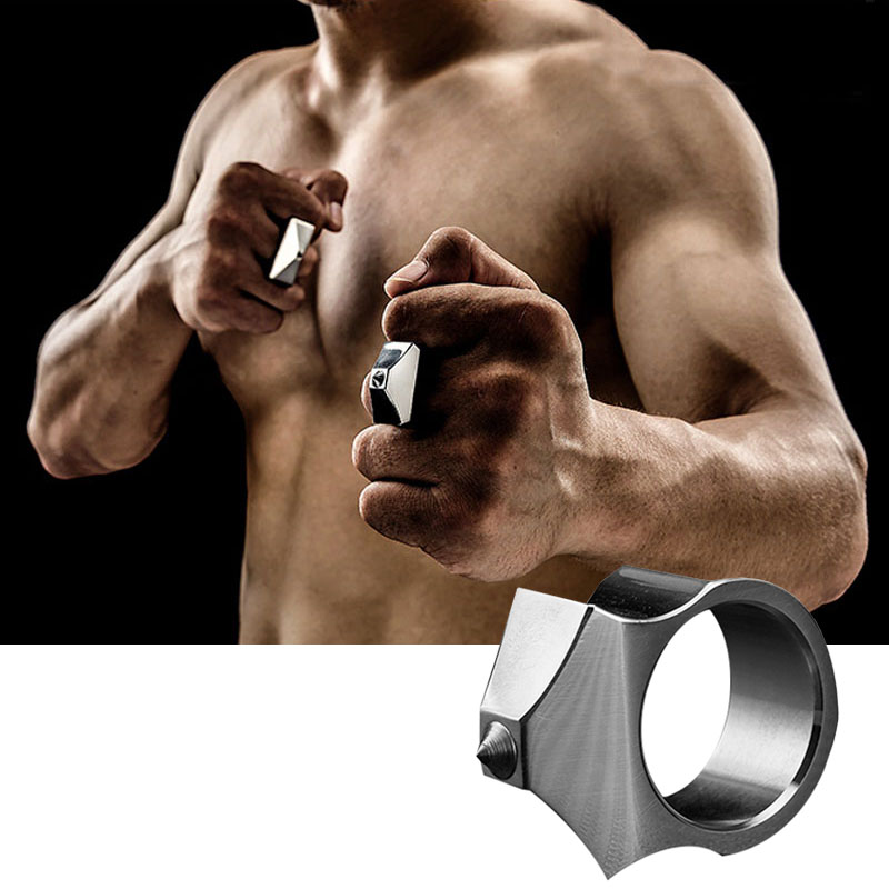 High Quality EDC Outdoor Tungsten Ring Steel Self Defense Supplies Ring Women Men Safety Survival Finger Ring With Chain Tool