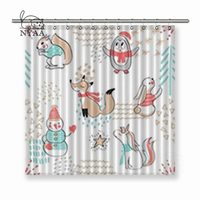 Nyaa Seamless with Cute Penguin Snowman Fox Squirrel and rabbit Polyester Fabric Shower Curtain For Bathroom with Hooks