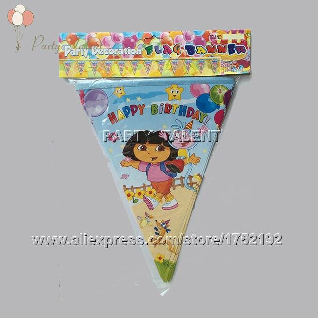 Party supplies 1set children kids DORA THE EXPLORER theme party decoration banner 2-side printed including 12 flags L=350cm