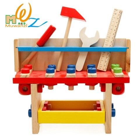 mwz criancas fingir jogar brinquedos simulacao reparacao conjunto de ferramentas de madeira educacional multifuncional mesa