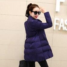 2016 Новая Зимняя Куртка Женская версия Корейской выращивания долго вниз воротник хлопок одежды дамы.