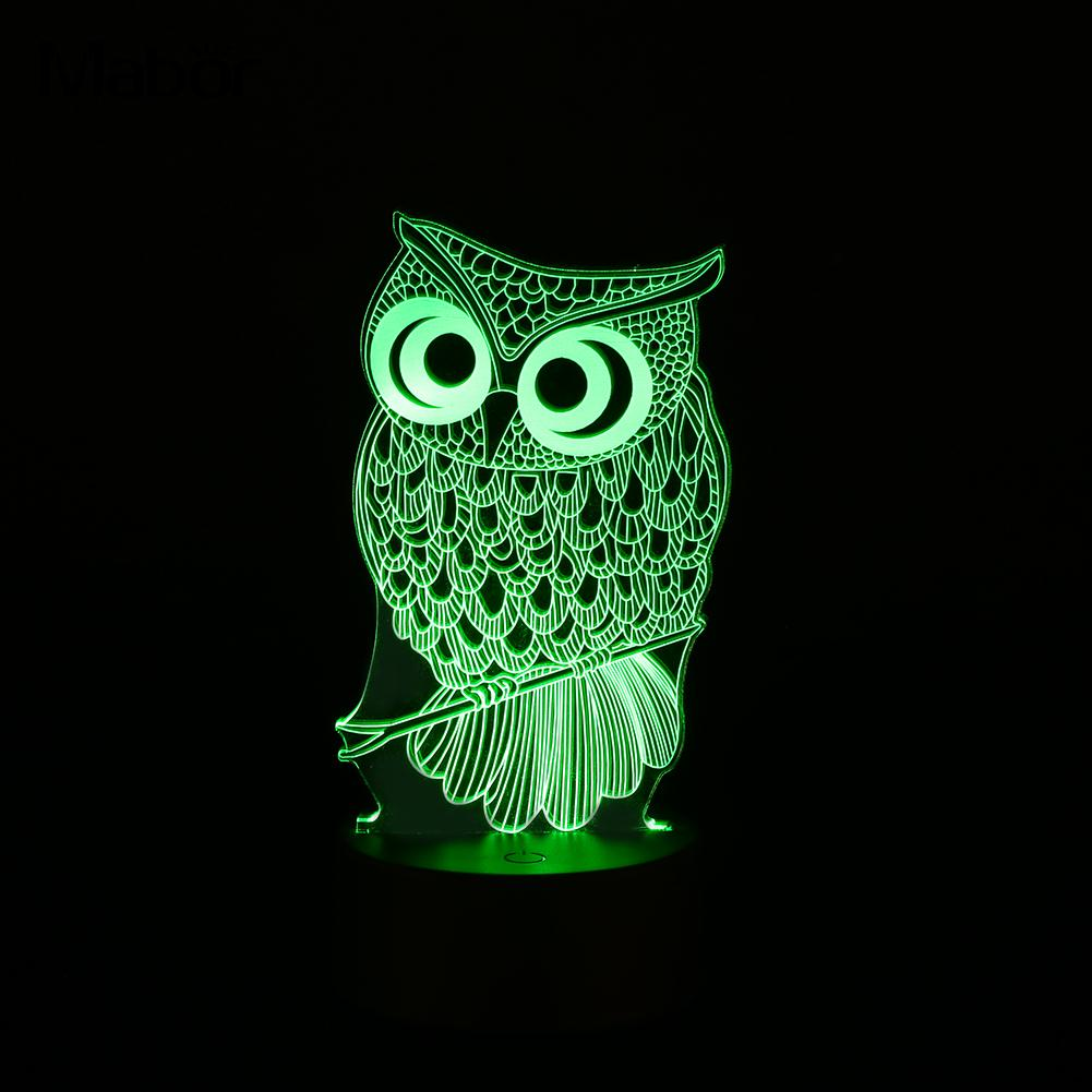 USB/battry 3D LED Animal OWL Night Light Warm Lighting Touch Table Reading Lamps Bedroom Home Decor Birthday Gift Colorful image
