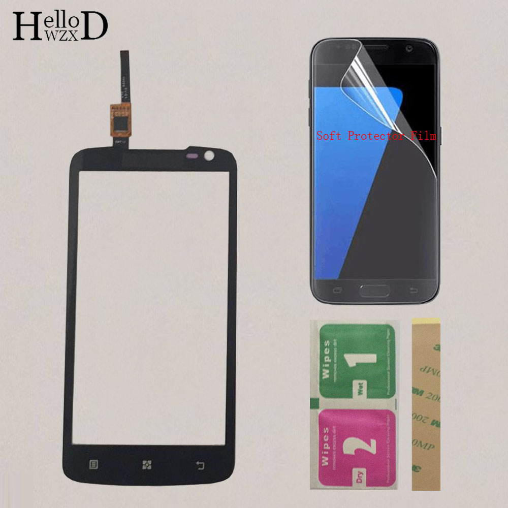 4.7'' Touch Screen Glass For Lenovo S820 S 820 Touch Screen Front Glass Panel Digitizer Panel Sensor Sensor + Protector Film