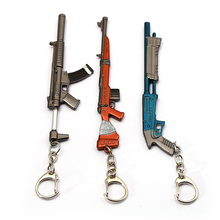 Game  Battle Royale Keychain Gun Model Holder Metal Weapon Keyring For Men Car Accessory 12cm fortnight battle royale toy model the tactical shot gun keychain alloy weapons kids toy collection decoration