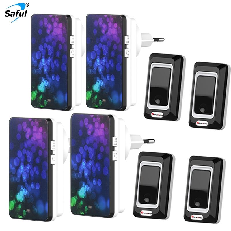 где купить Saful Waterproof Wireless Doorbell Push Button 4 Outdoor Transmitters + 4 Doorbells Receiver EU/US/UK/AU Plug по лучшей цене