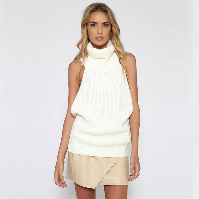 Women turtleneck sweater Sexy backless knitted tops Female sleeveless pullovers Ladies winter spring off shoulder sweaters