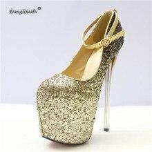 LLXF zapatos Plus:34-41 42 43 Crossdresser Gold/Sliver Sexy 20cm High-heeled paillette Shoes woman Stiletto female Buckle Pumps