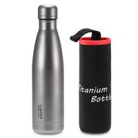 Lixada 500ml Titanium Water Bottle Outdoor Tableware Double Walled Vacuum Insulated Sport Water Bottle Camping Outdoor Tableware