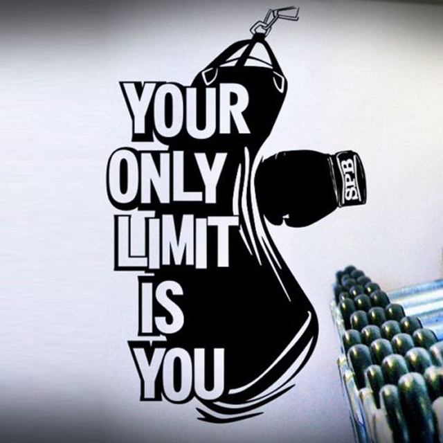 Your Only Limit is You Letters Boxing Pattern Wall Stickers for Fitness Room Background Vinyl Wallpaper Decals Sport Room K838